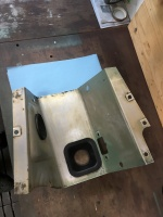 Inside of the gearbox tunnel prior to sound proofing