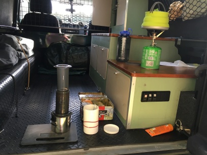 Coffee time in the back of the Defender